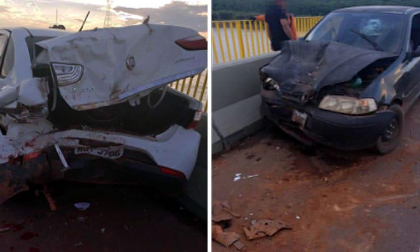 Motorista estaciona para tirar foto na Ponte do Madeira e provoca 1º acidente no local