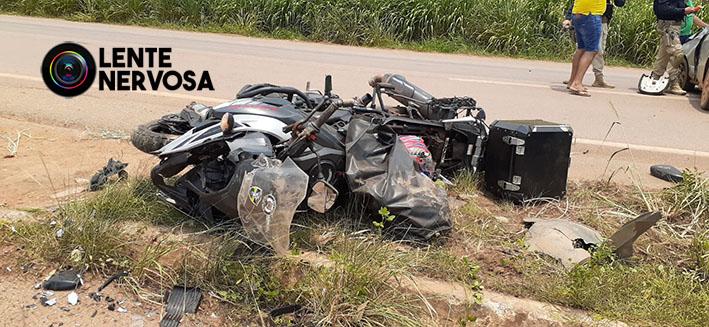 Motoqueiro quebra braço e perna em grave acidente em Candeias do Jamari